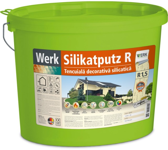 Silikatputz R1,5 Tencuială decorativă silicatică, 1,5mm, zgâriat, 25kg